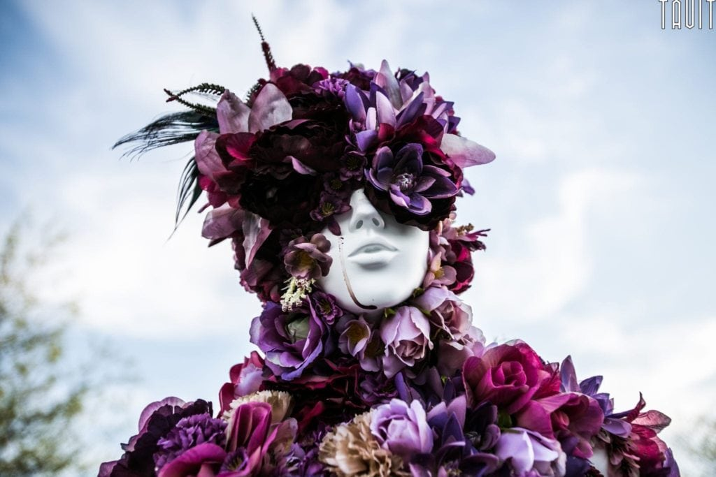 Mysteryland 2014 | Music Festival Photography Stage | Sculpture Purple Flowers on Face
