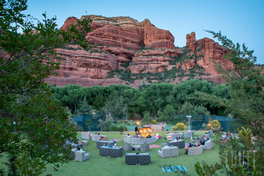 Mind Travel - Enchantment Resort, Sedona seating with piano